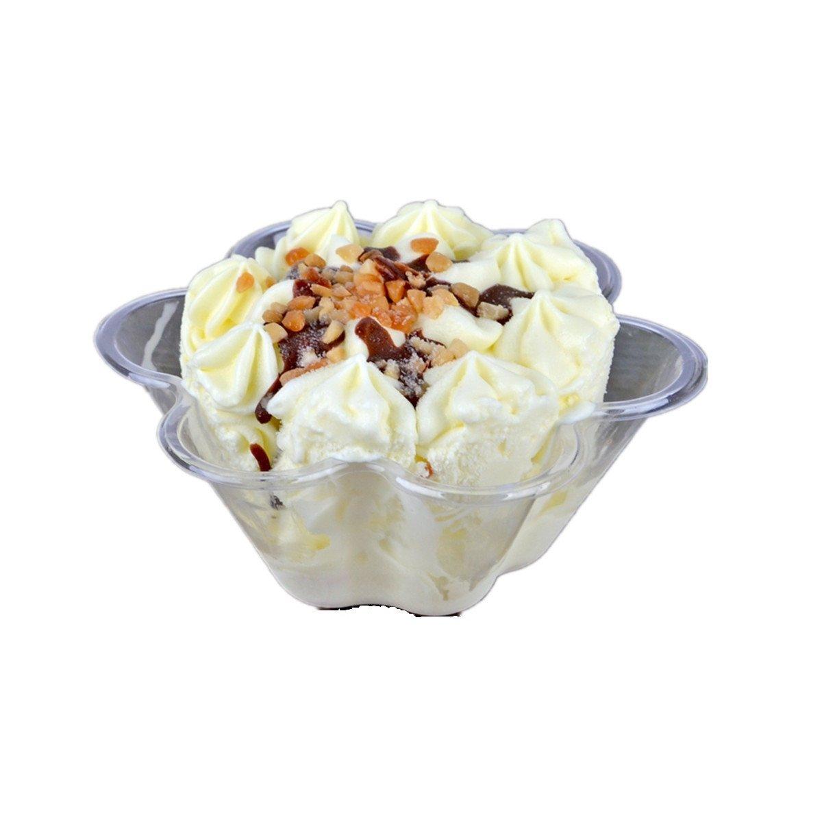 Healthcom 50x Plastic Ice Cream Dessert Bowls Clear Dessert Cups Flower Ice Cream Cup Ice Cream Sundae Bowl