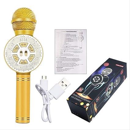 RRYM Micrófonos Micrófono Luces Led De Colores Teléfono Móvil Karaoke Micrófono Inalámbrico Bluetooth Grabación Estudio Conferencia Mic Oro: Amazon.es: Instrumentos musicales