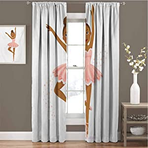 Toopeek Girls Shading Insulated Curtain Ballerina Dancing Daughter Classic Performance Hobby Birthday Kids Baby Theme Soundproof Shade W63 x L84 Inch Rose and Brown