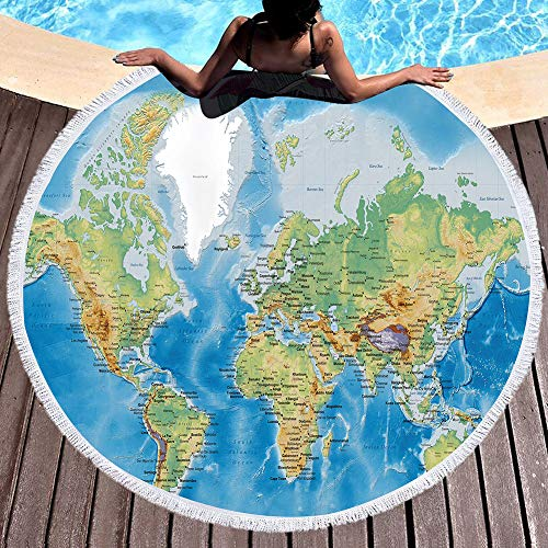 Qchengsan World Map Oversized Beach Towel 3D Map Beach Throw Blanket Teenage Beach Roundies Tassel Tapestry Throws (1)