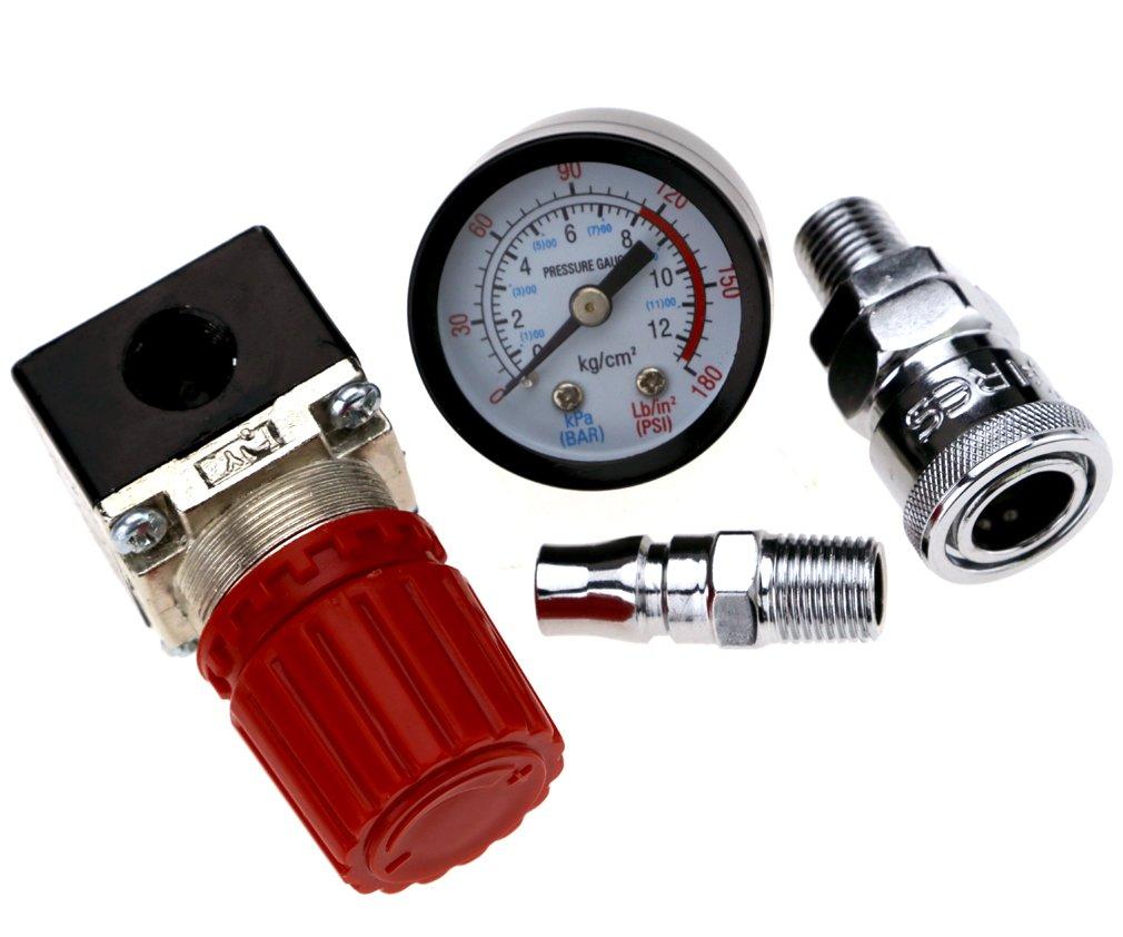 Micro Trader Compresor de aire 1//4/v/álvula de control de presi/ón Man/ómetro 140PSI 240/V