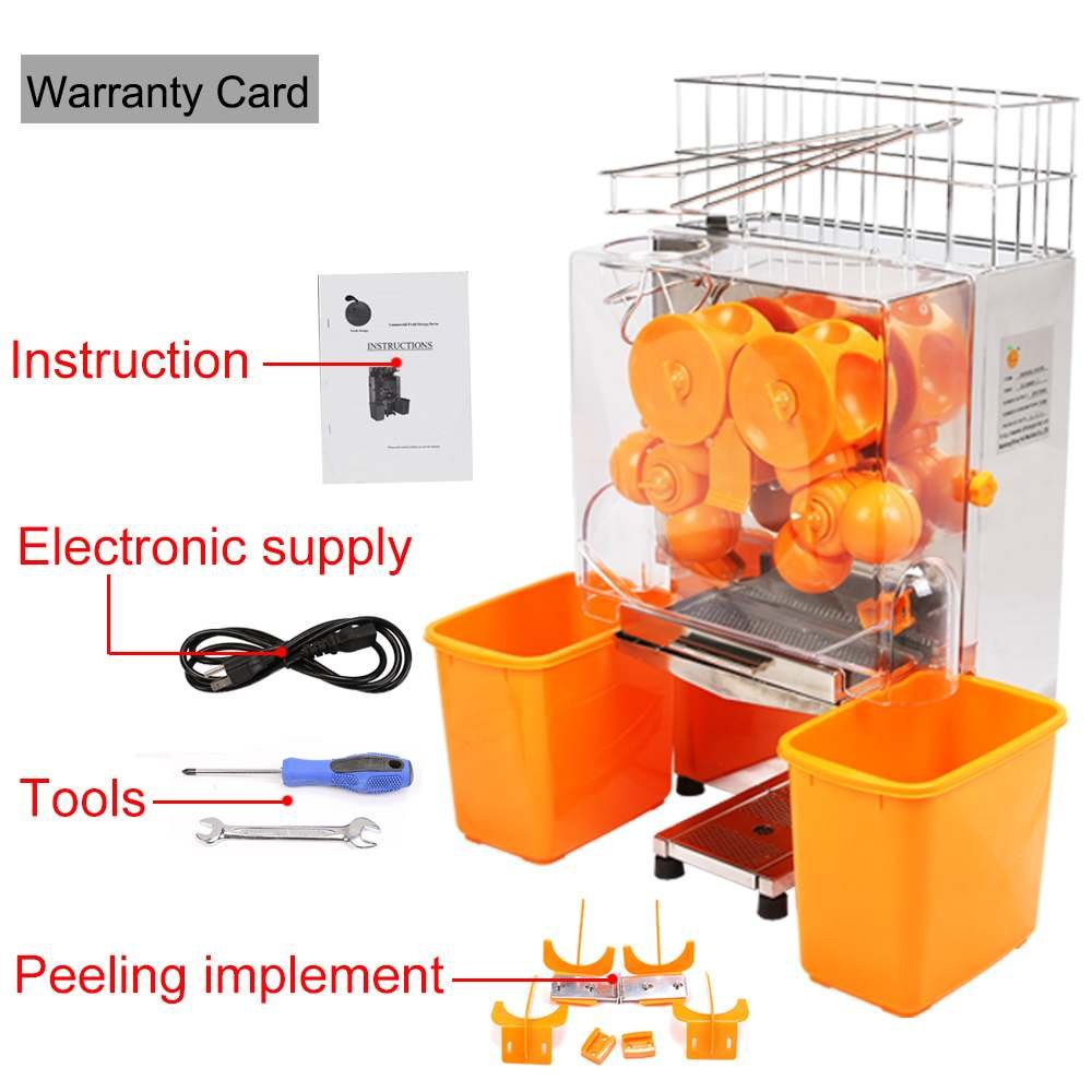 Superland Orange Juice Machine Commercial 120W Orange Juicer Auto Feed 20-22 Oranges per Minute Commercial Juicer Machine Stainless Steel Case (20-22 Oranges per Minute)