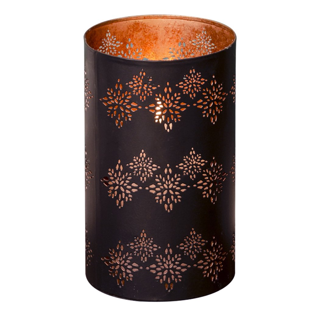 Dibor Black and Rose Copper Laser Cut Decorative Candle Holder, Stunning accessory for a mantel piece, windowsill or coffee table! Amazing gift idea for a birthday, Christmas or Anniversary!!
