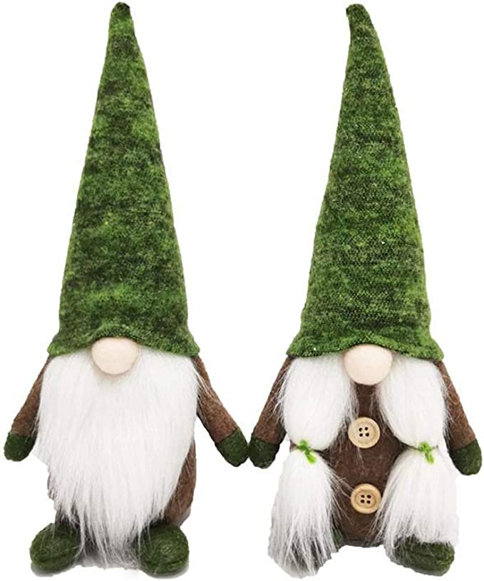 TOYANDONA 3PCS Christmas Gnome Plush Figurine Desktop Ornaments Xmas Party Treetop Decorations Red, Green, Gray