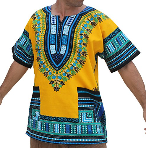 RaanPahMuang Unisex African Bright Dashiki Cotton Shirt Variety Colors, Medium, Yellow - Multi-coloured from Raan Pah Muang