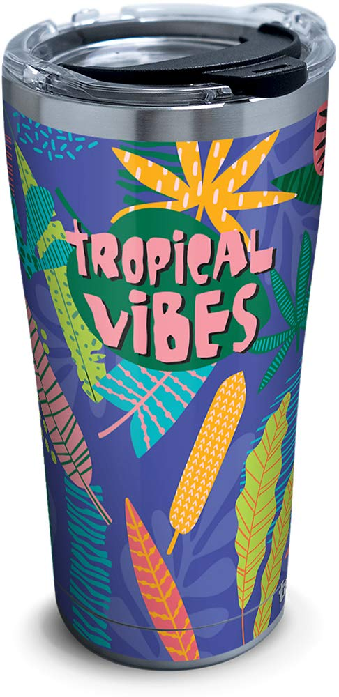 Tervis 1319947 Tropical Vibes Stainless Steel Insulated Tumbler with Lid 20 oz Silver
