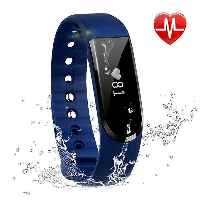Rastreador de actividad Cardio, letscom reloj inteligente deporte impermeable Bluetooth podómetro pulsera inteligente rastreador sueño Notification ...