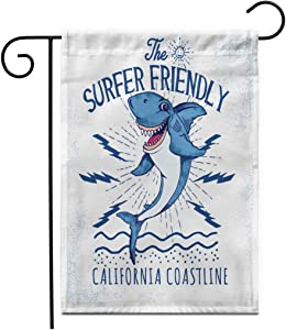 """Adowyee 28""""x 40"""" Garden Flag Surf Surfing Shark for Boy in Custom Colors Character Outdoor Double Sided Decorative House Yard Flags"""
