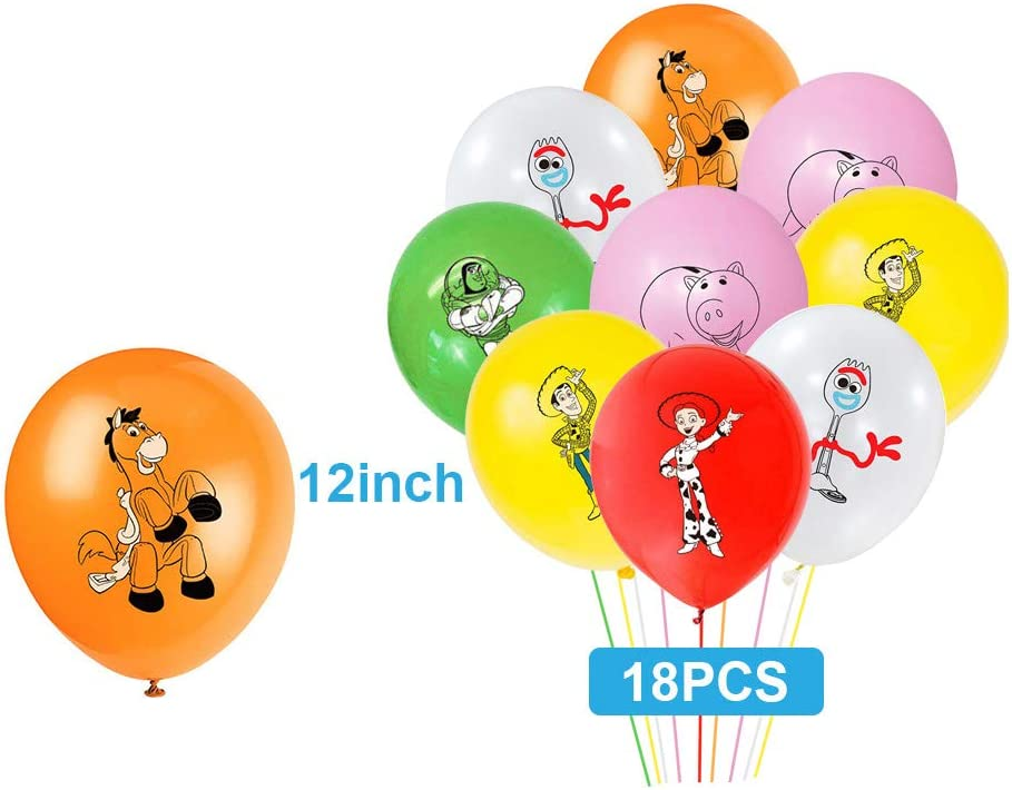 Toy Story Decorations Included Plates Tablecloth Kopmosar Toy Story Birthday Party Supplies Set Knive,Spoons,Forks Cake Topper Balloons Birthday Banner