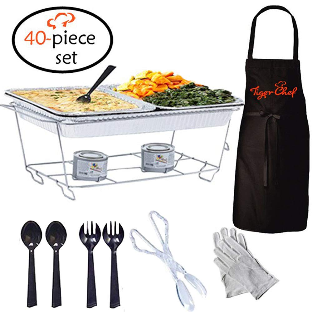 Tiger Chef Full Size Disposable Wire Chafer Stand Kit, Set Includes White Waitress Gloves, White, 40 Piece by Tiger Chef