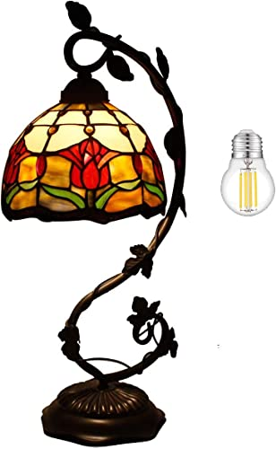 Tiffany Lamp Tulip Flower Stained Glass Style Table Reading Light W8H20 Inch LED Bulb Included S030 WERFACTORY LAMPS Parent Lover Kid Friend Living Room Bedroom Coffee Bar Desk Bedside Antique Gift