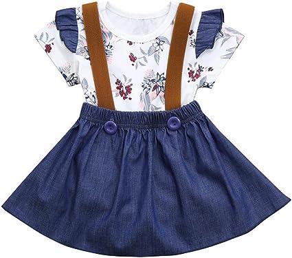 Caliente! Conjunto de mono para niñas con estampado floral, falda ...