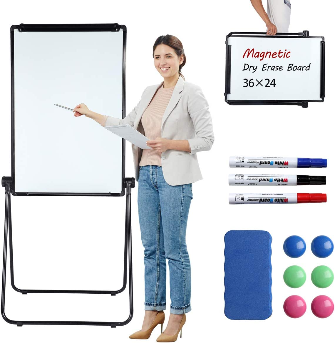 WonderView Stand White Board, Double Sided Magnetic Dry Erase Board Portable Whiteboard 3624 inch, Perfect for Classroom, Preschool, Homeschool, Restaurant and Presentation