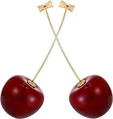 Gold Pearl Cherry Hoop Earrings Leaves Drop Dangle Ear Stud Women Jewelry Gift