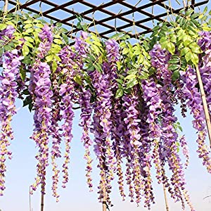 12pcs/lot Wedding Decor Artificial Silk Wisteria Flower Vines Hanging Rattan Bride Flowers Garland Home Garden Hotel 66
