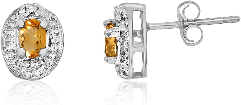 14K Oro Blanco Citrino Pendientes con diamantes