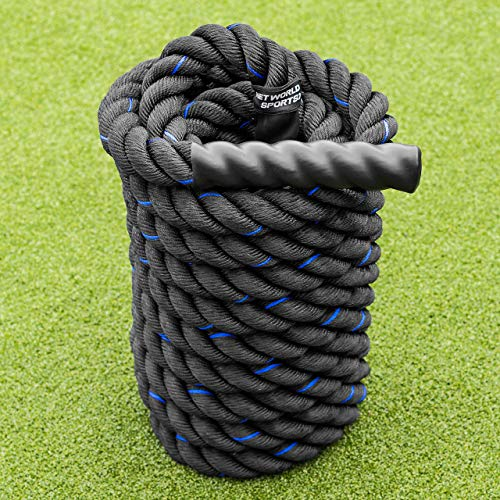FORZA 30ft, 40ft and 50ft Battle Rope – 1.5ft & 2-inch-Thick, Premium Quality Weighted Gym Rope for Fitness, Strength Training, Crossfit and More