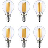 KION 6 Packed, 4 Walt Dimmable LED Filament Round Light Bulb, 2700K Warm White 350LM, E12 Candelabra Base Lamp, 40W Incandescent Replacement, UL listed
