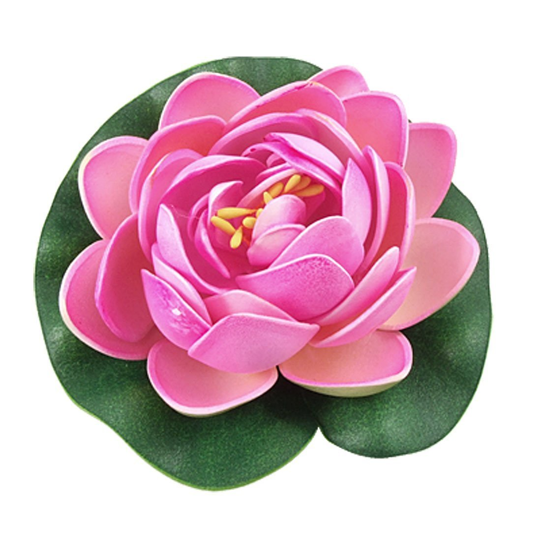 Artificial EVA Lotus Floating Water Lily Blooming Mini Foam Flower Head Pool Fish Tank Pond Home Garden Decoration (Pink, 40cm)