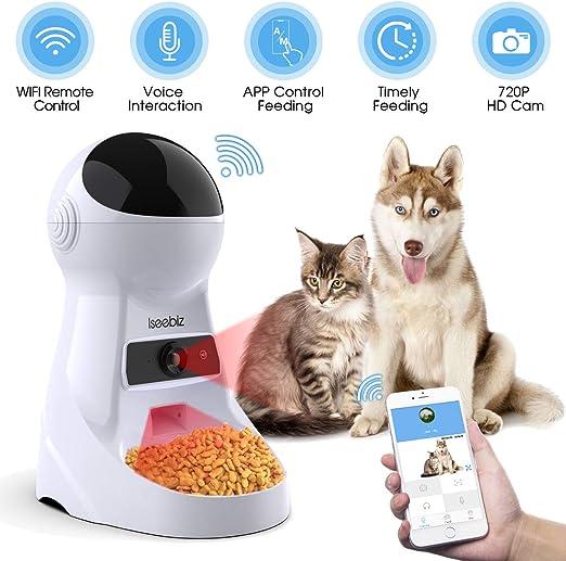 Iseebiz Comedero Automatico Cámara para Gatos/Perros App Control y Recordatorio por Voz 3litros: Amazon.es: Productos para mascotas