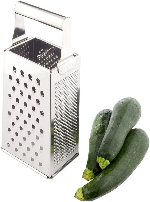 Met Lux Cheese Grater, 1 Heavy-Duty Box Grater - With 4 Sides, Built-In Handle, Stainless Steel Food Grater, For Vegetables And Cheese - Restaurantware