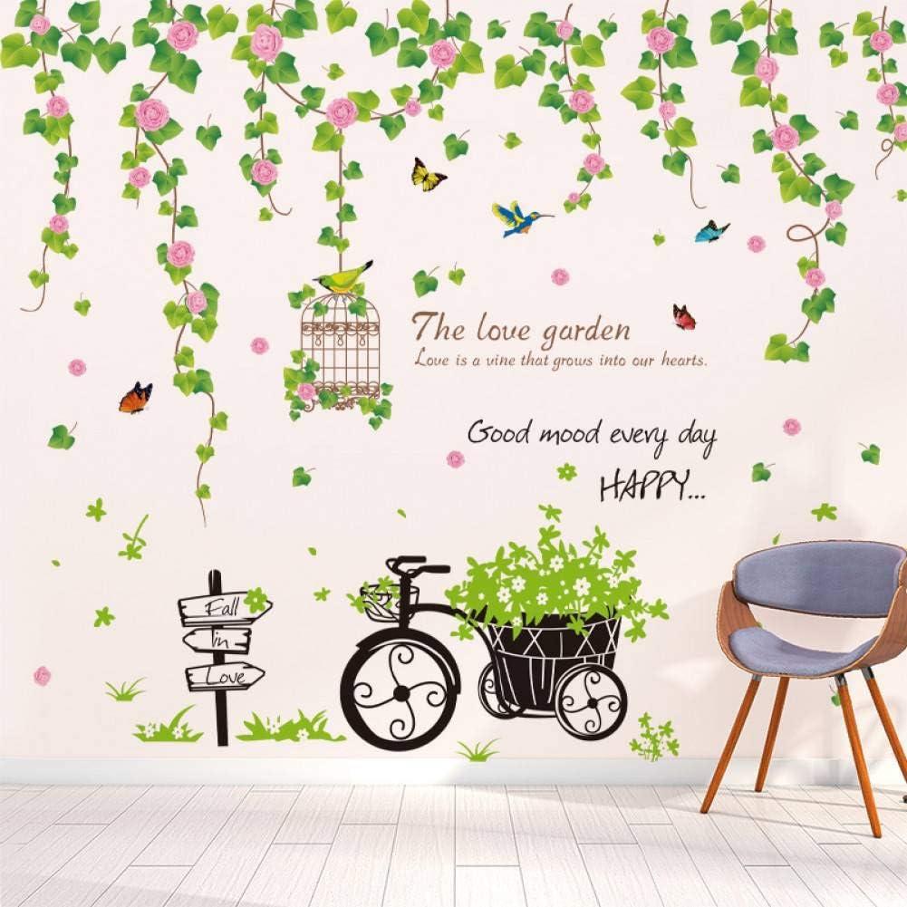 EBONP Etiqueta de la Pared Flor de Vid Pegatinas de Pared Material de PVC DIY Hierro Triciclo Mural Calcomanías para Sala de Estar Dormitorio Decoración del hogar