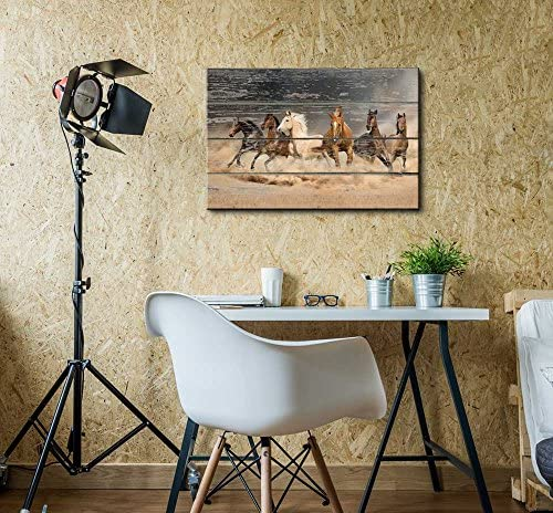 Galloping Horses on Vintage Wood Textured Background Rustic Country Style