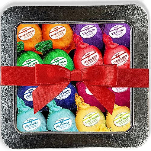 Bath Bombs Gift Set 16 Organic Bubble Bath Handmade Shea Butter Dry Skin Moisturize Spa Bubble Bath Birthday Gift idea For Her Him Natural Essential Oils Lush gift baskets Spa Fizzies Bath Pearls Bead Baby Citrus Basket