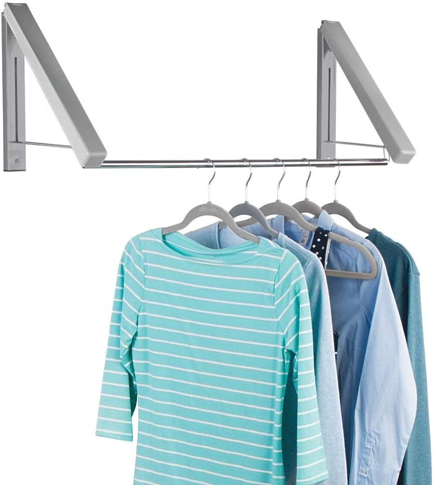 mDesign Expandable Metal Wall Mount Clothes Air Drying Rack - for Indoor Air Drying and Hanging Clothing, Towels, Lingerie, Hosiery, Delicates - Great for Laundry Room, Bathroom, Utility Area - Gray