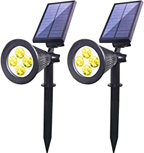 Solar Lights Outdoor Spotlight, Youqian 2 in 1 Upgraded 4 LED Landscape Lighting, Auto On/Off Solar Wall Light for Yard Driveway Pathway Pool Patio (2 Pack, Warm White)