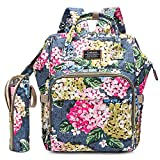 Diaper Bag Backpack Floral Baby Bag Water-Resistant Baby Nappy Bag with Insulated Water Bottle Bag/Changing Pad for Women/Girls/Mum (Light Blue Flower Pattern)