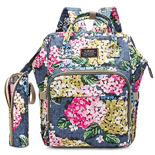 Diaper Bag Backpack Floral Baby Bag WaterResistant Baby Nappy Bag with Insulated Water Bottle Bag/Changing Pad for Women/Girls/Mum Light Blue Flower Pattern
