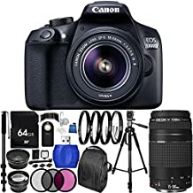 Canon EOS 1300D/Rebel T6 DSLR Camera with EF-S 18-55mm f/3.5-5.6 IS II Lens & EF 75-300mm f/4-5.6 III Lens 64GB Bundle 28PC Accessory Kit. Includes 64GB Memory Card + 0.43x Wide Angle Lens + 2.2x Telephoto Lens + 3PC Filter Kit (UV-CPL-FLD) + MORE - International Version (No Warranty)