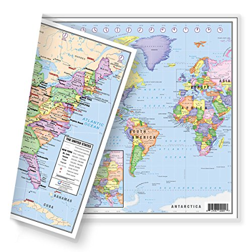 Map Sided Double - United States (USA) and Americas-Centered World Desk Map (13