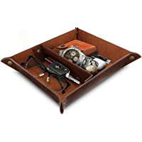 OTTO - Leather Tray Organizer - Practical Storage Box for Wallets, Watches, Keys, Coins, Cell Phones and Office Equipment