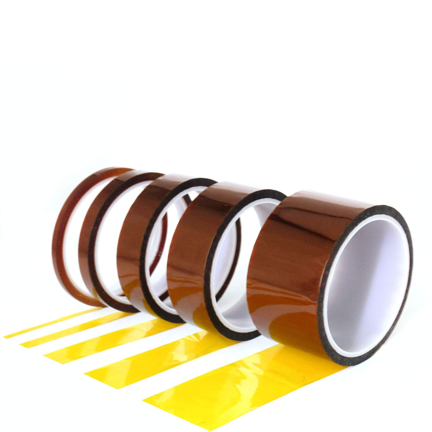 Tueascallk 5 Rolls of Different Specifications Heat-Resistant Insulating Transparent Polyimide High Temperature Tape Kit, Transparent Yellow, 180 Yards