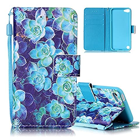 Aeeque iPod Touch 6 Wallet Case Durable iPod Touch 5 Cover PU Leather Card Holder Wristlet Flip Stand Case Cover Protective Holster Shell for iPod Touch 5th/6th Generation - Blue (Ipod 5th Generation With Holster)