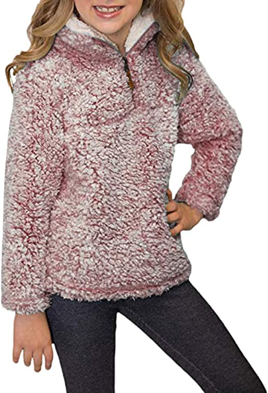 Baby Girls Long Sleeve Thick Warm Hoodie Tops Blouse Fluffy Pullover  Sweaters