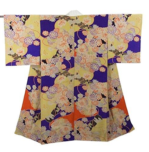 傾いた化学ゴージャスアンティーク 着物 襦袢 錦紗 四季花文様 正絹 袷 裄61cm 身丈118cm