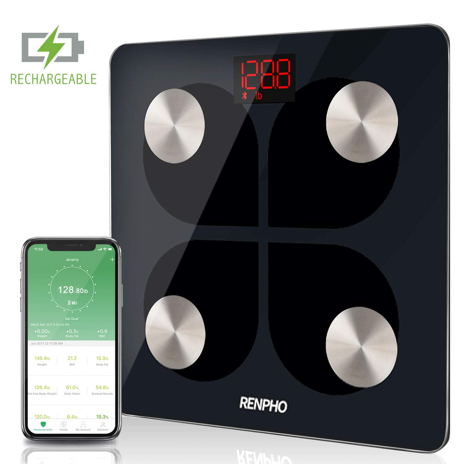 RENPHO Bluetooth Body Fat Smart Scale USB Rechargeable Digital Bathroom Weight Scale Body Fat Monitor with Smartphone App, 396 lbs by RENPHO (Image #1)