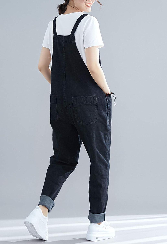 Flygo Womens Loose Baggy Denim Bib Overalls Romper Jumpsuit Pants