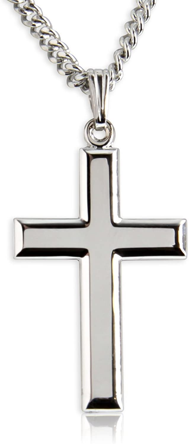 Heartland Classic High Polish Cross Sterling Silver Pendant for Men USA Made