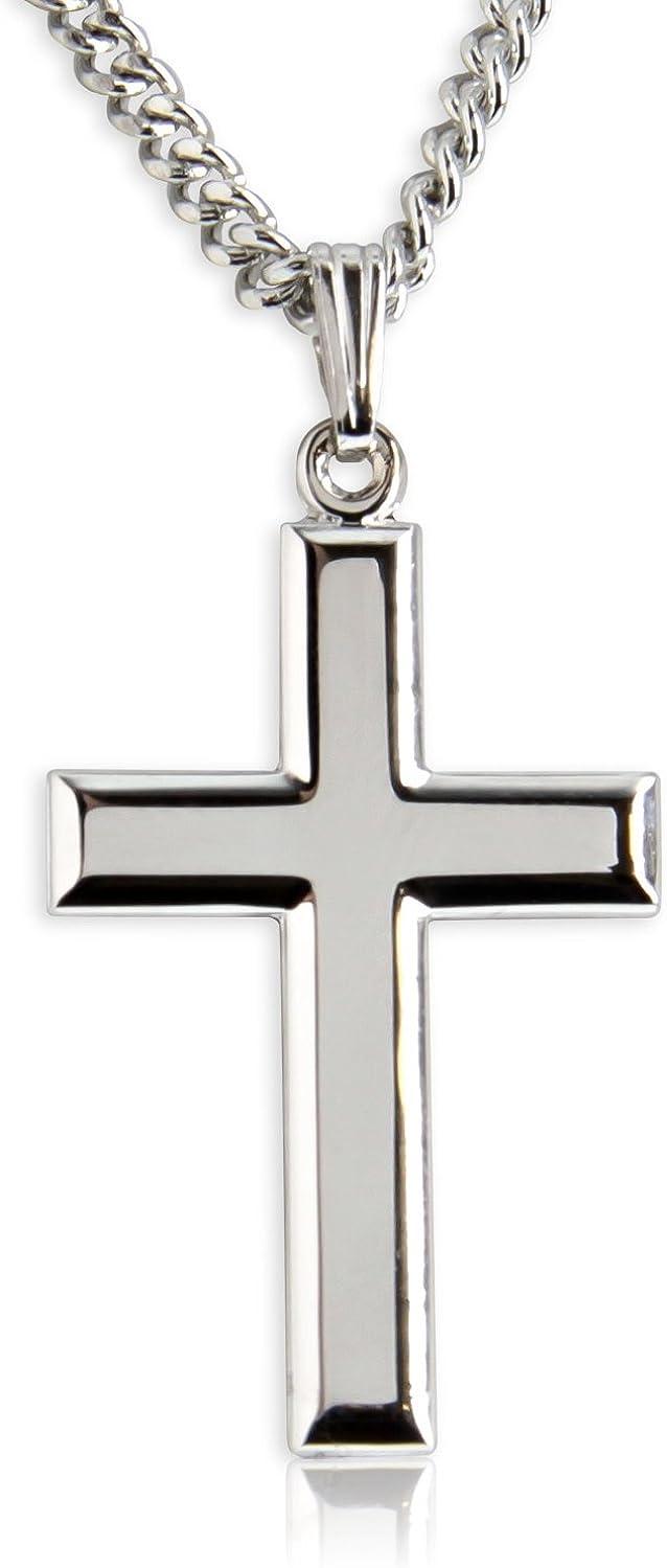 Heartland Classic High Polish Cross Sterling Silver Pendant for Men USA Made