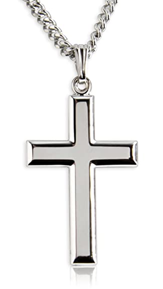 Amazon classic high polish cross sterling silver pendant for classic high polish cross sterling silver pendant for men 20 inch stainless steel chain mozeypictures Gallery