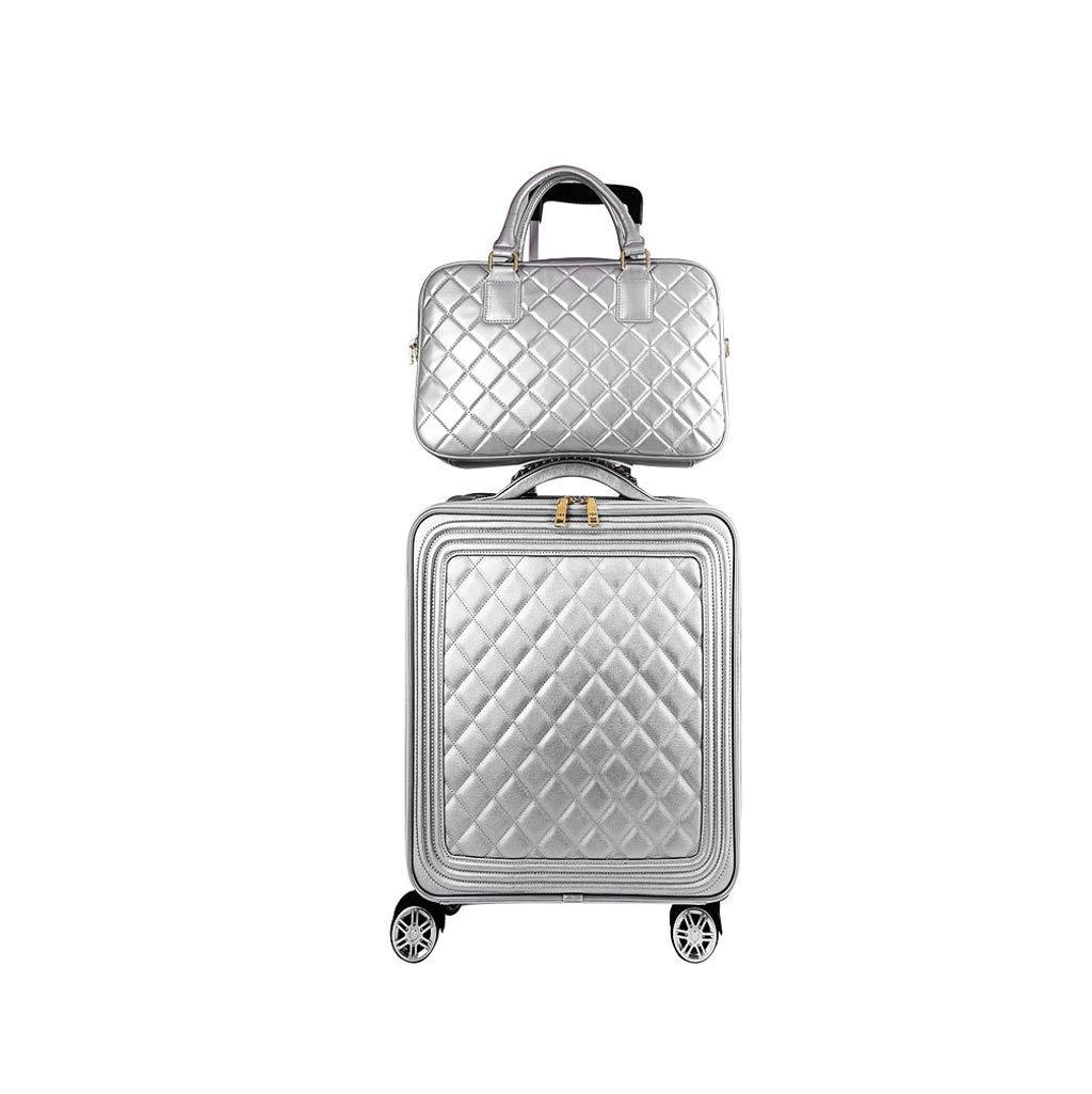 CATRP スーツケース 子供の手荷物 pu ファッション 防水 ユニバーサルホイール 軽量で実用的 銀 4サイズ (色 : シルバー しるば゜, サイズ さいず : 38x21x60cm) 38x21x60cm シルバー しるば゜ B07QK569KT