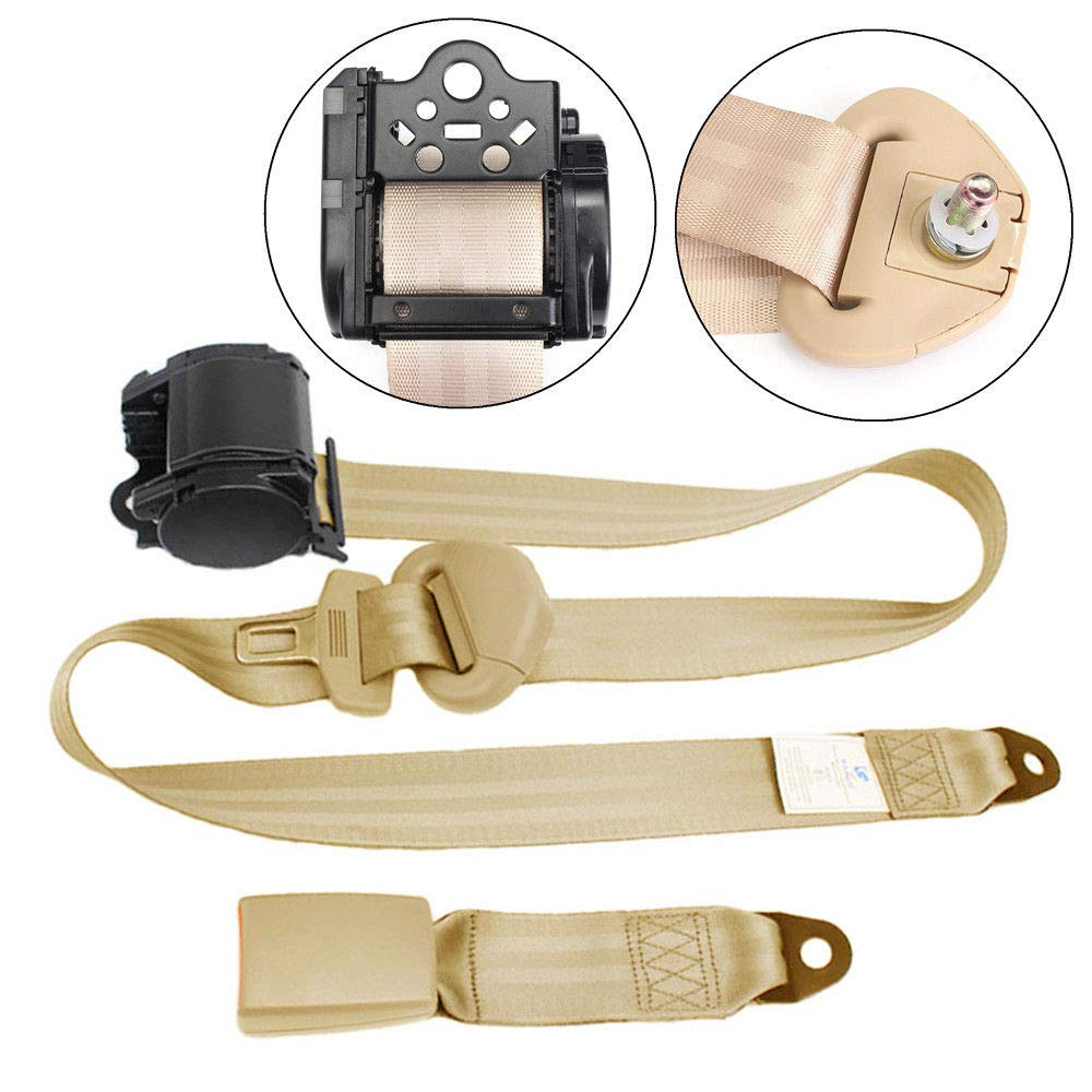 FidgetFidget Seat Belt Beige 3 Point Automatic Car Front Buckle Kit Retractable Safety Straps