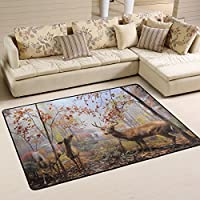 Naanle Animal Area Rug 4x6, Deer in Autumn Forest Polyester Area Rug Mat for Living Dining Dorm Room Bedroom Home Decorative