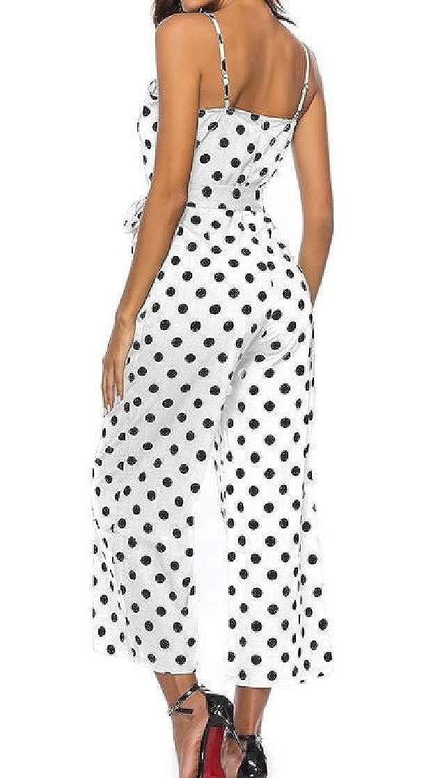 Joe Wenko Womens Spaghetti Strap Pocket Classic Polka Dots Belt Wide Leg Playsuit Jumpsuits