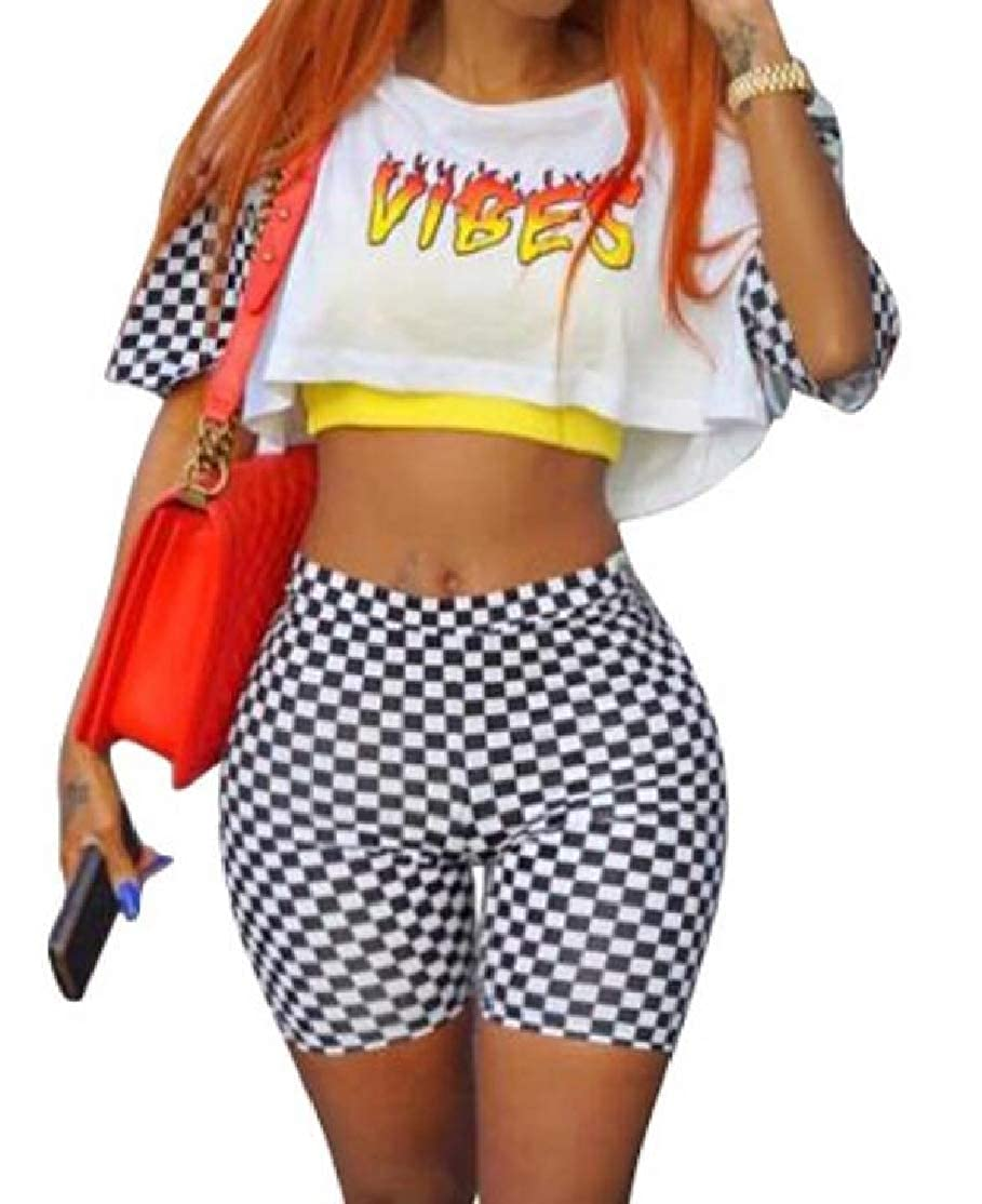 BU2H Women Shorts Plaid Short Sleeve Letter Printing Crop Top Two Piece Outfit Set