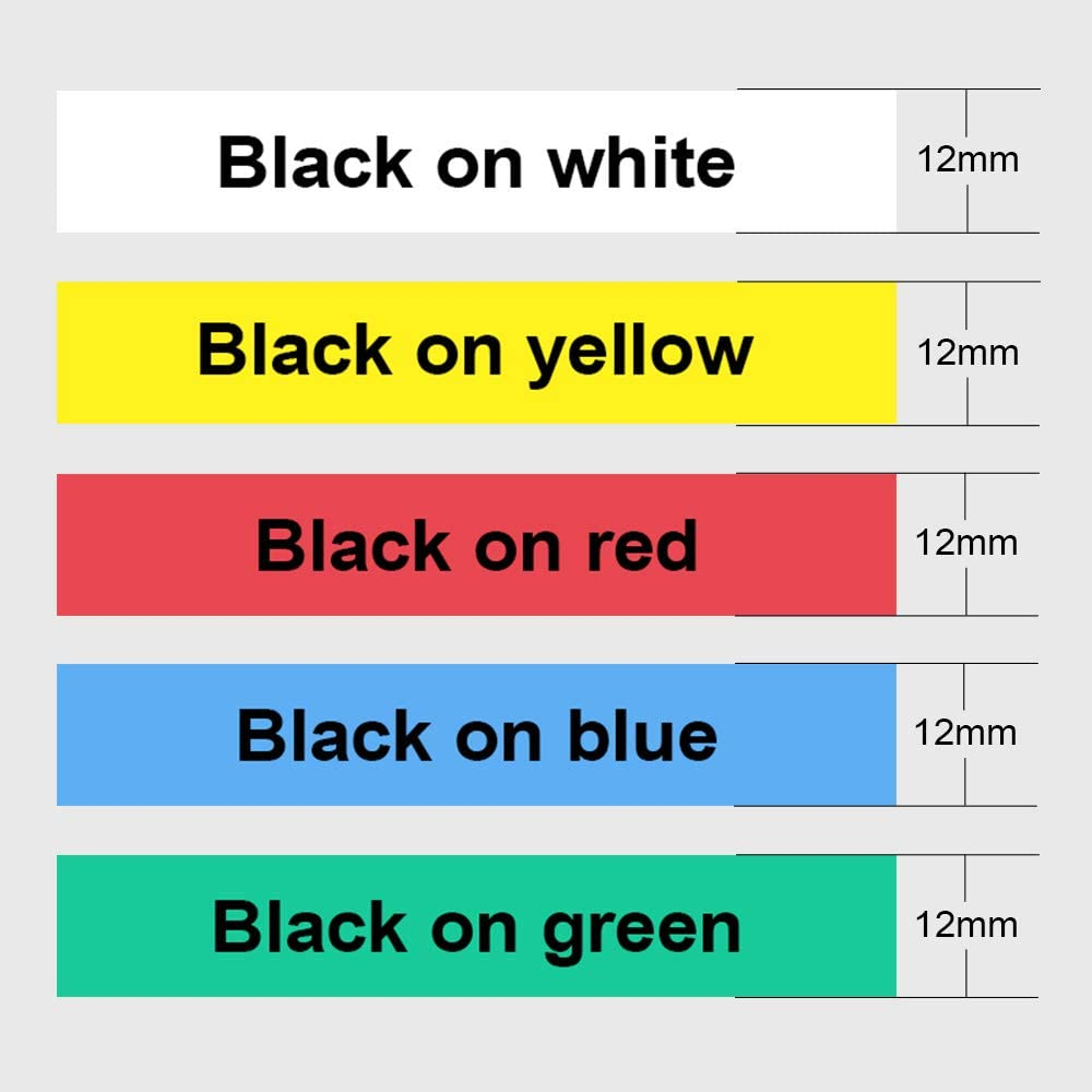 12mm 6 Color Suminey Compatible Label Tape Replacement for Brother P-Touch M Tape MK131 MK231 431 531 631 731 Work with Brother Ptouch PT-M95 PT-90 PT70 PT-65 PT85 x 26.2 Feet 0.47 Inch 8m